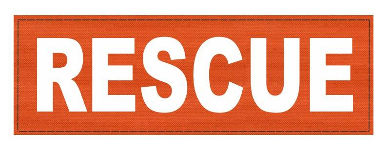 RESCUE Patch - 6x2 - White Lettering - Orange Backing - Hook Fabric