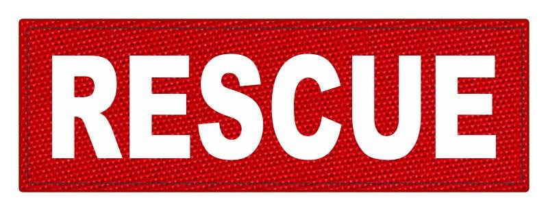RESCUE Patch - 6x2 - White Lettering - Red Backing - Hook Fabric