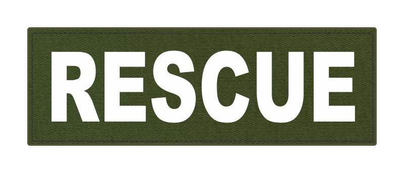 RESCUE Patch - 6x2 - White Lettering - OD Green Backing - Hook Fabric