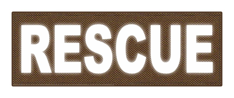 RESCUE Patch - 8.5x3.0 - Reflective Lettering - Coyote Backing - Hook Fabric