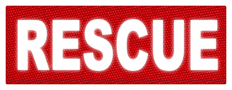 RESCUE Patch - 8.5x3.0 - Reflective Lettering - Red Backing - Hook Fabric