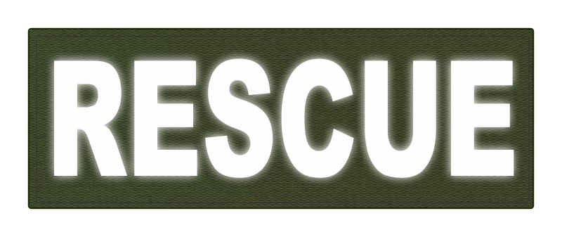 RESCUE Patch - 8.5x3.0 - Reflective Lettering - OD Green Backing - Hook Fabric