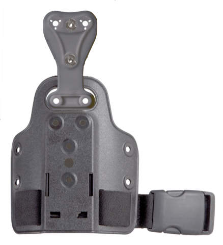 Safariland 6004-UFA Universal Flex Adapter & 745BL Belt Clip on Single Strap Leg Shroud