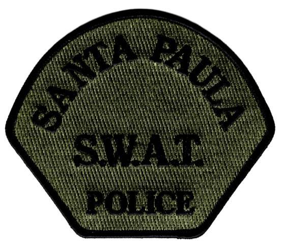 Santa Paula Police Department - Shoulder Patch - SWAT- Consigned - Hook Backing - Pair