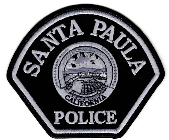 Santa Paula Police Dept. Shoulder Patch - Silver Oxide / Black - Pair - Hook Backing