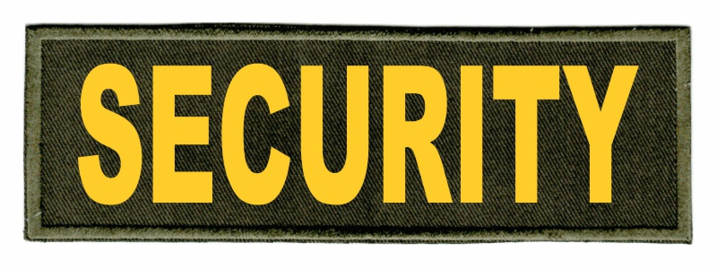 SECURITY Identification Patch - 6x2 - Gold Lettering - OD Green Twill Backing