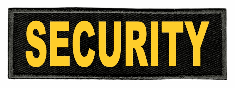 SECURITY Identification Patch - 6x2 - Gold Lettering - Black Twill Backing