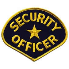 SECURITY OFFICER Shoulder Patch - Gold Lettering with Navy Backing