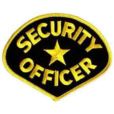 SECURITY OFFICER Shoulder Patch - Gold Lettering with Black Backing