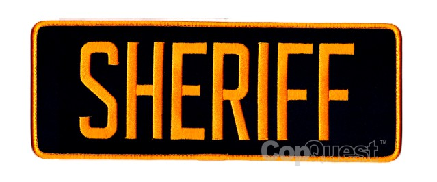 SHERIFF Back Patch - 11 x 4 - Dark Gold Lettering - Navy Backing