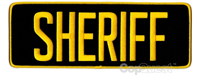 SHERIFF Back Patch - 11 x 4 - Gold Lettering - Black Backing
