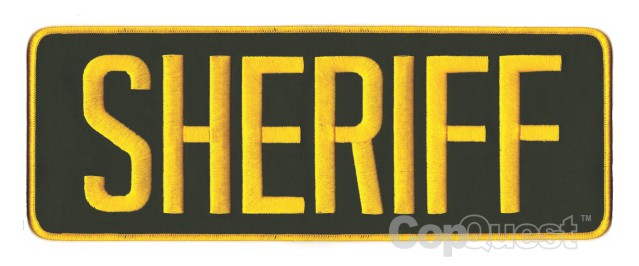 SHERIFF Back Patch - 11 x 4 - Gold Lettering - OD Green Backing