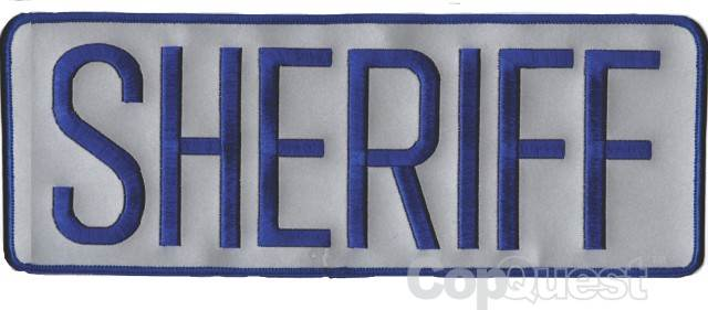 SHERIFF Back Patch - 11 x 4 - Royal Blue Lettering - Reflective Backing