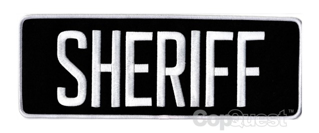 SHERIFF Back Patch - 11 x 4 - White Lettering - Black Backing