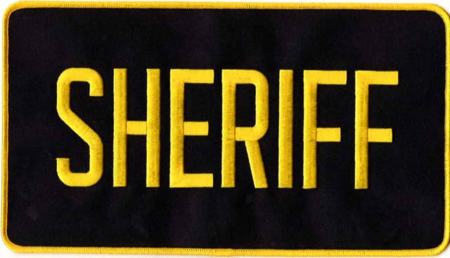 SHERIFF Back Patch - 11 x 6 - Gold Lettering - Black Backing