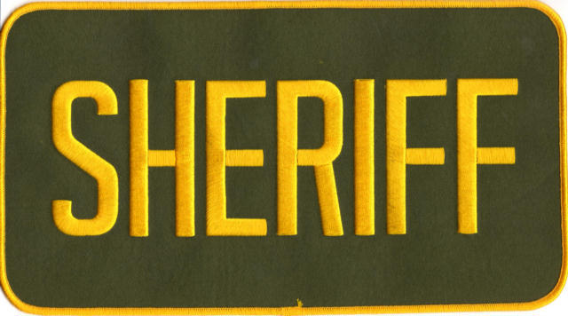 SHERIFF Back Patch - 11 x 6 - Gold Lettering - OD Backing