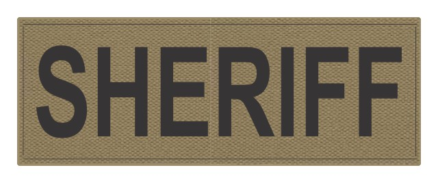 SHERIFF ID Patch - 11x4 - Black Lettering - Tan Backing - Hook Fabric