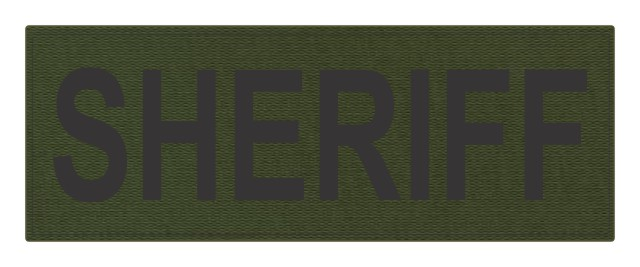 SHERIFF ID Patch - 11x4 - Black Lettering - OD Green Backing - Hook Fabric
