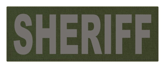SHERIFF ID Patch - 11x4 - Gray Lettering - OD Green Backing - Hook Fabric