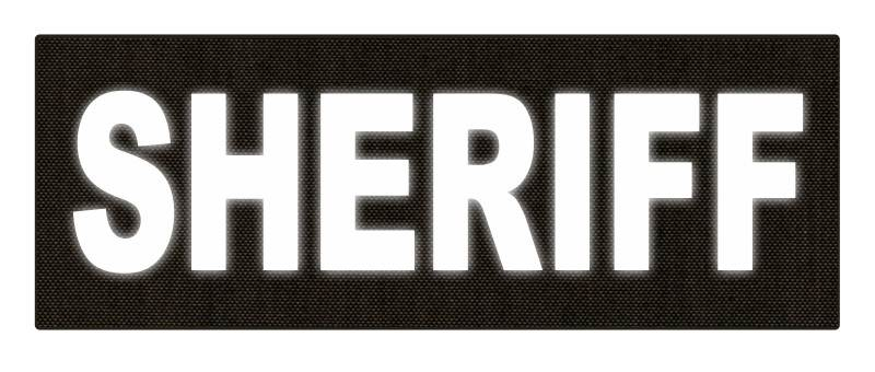 SHERIFF ID Patch - 11x4 - Reflective White Lettering - Ranger Green Backing - Hook Fabric