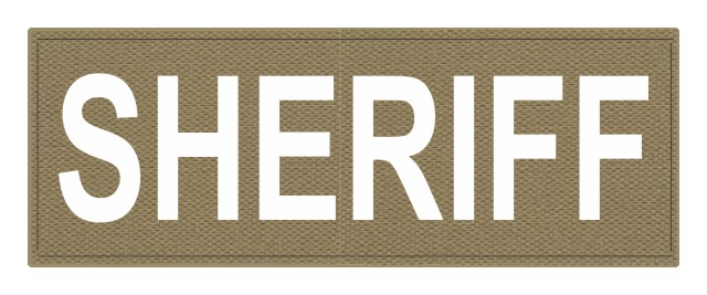 SHERIFF ID Patch - 11x4 - White Lettering - Tan Backing - Hook Fabric