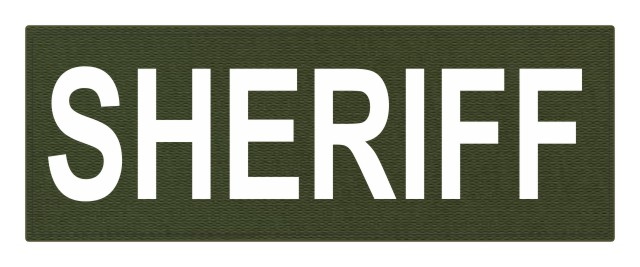 SHERIFF ID Patch - 11x4 - White Lettering - OD Green Backing - Hook Fabric