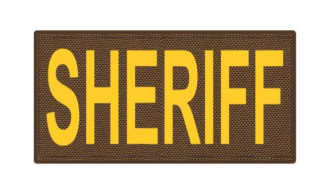SHERIFF ID Patch - 4x2 - Gold Lettering - Coyote Backing - Hook Fabric