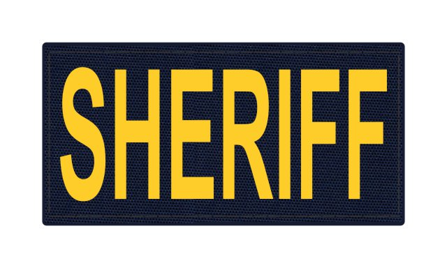 SHERIFF ID Patch - 4x2 - Gold Lettering - Navy Backing - Hook Fabric