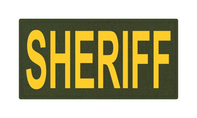 SHERIFF ID Patch - 4x2 - Gold Lettering - OD Green Backing - Hook Fabric