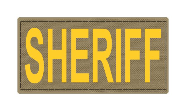 SHERIFF ID Patch - 4x2 - Gold Lettering - Tan Backing - Hook Fabric