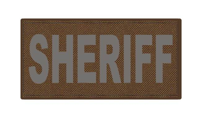 SHERIFF ID Patch - 4x2 - Gray Lettering - Coyote Backing - Hook Fabric