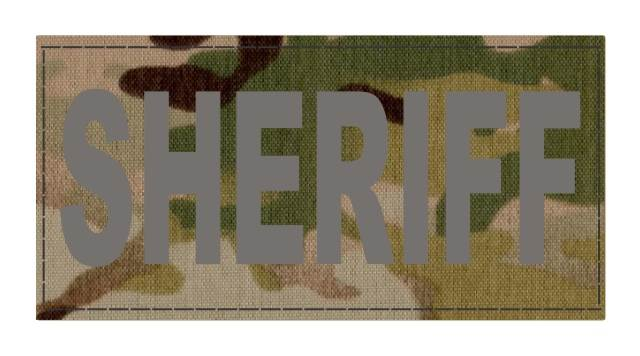 SHERIFF ID Patch - 4x2 - Gray Lettering - Multicam Backing - Hook Fabric