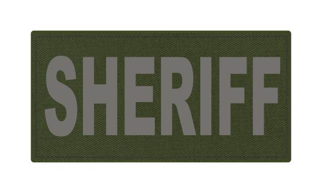 SHERIFF ID Patch - 4x2 - Gray Lettering - OD Green Backing - Hook Fabric