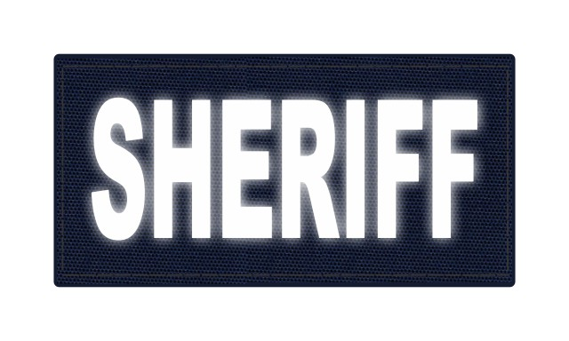 SHERIFF ID Patch - 4x2 - Reflective Lettering - Navy Backing - Hook Fabric