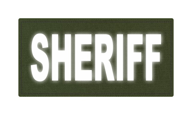SHERIFF ID Patch - 4x2 - Reflective Lettering - OD Green Backing - Hook Fabric