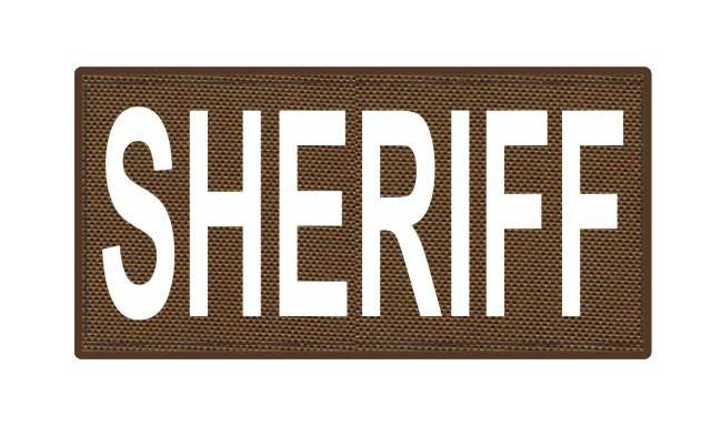 SHERIFF ID Patch - 4x2 - White Lettering - Coyote Backing - Hook Fabric