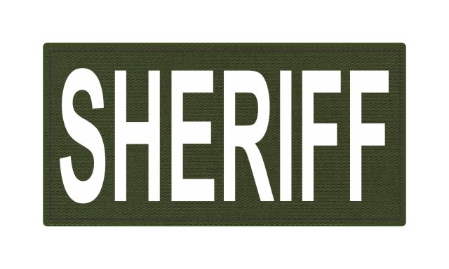 SHERIFF ID Patch - 4x2 - White Lettering - OD Green Backing - Hook Fabric