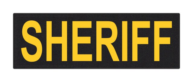 SHERIFF ID Patch - 6x2 - Gold Lettering - Black Backing - Hook Fabric