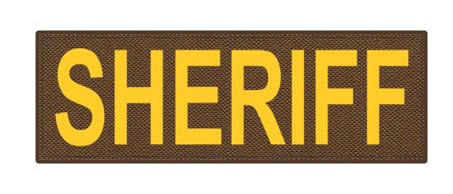 SHERIFF ID Patch - 6x2 - Gold Lettering - Coyote Backing - Hook Fabric