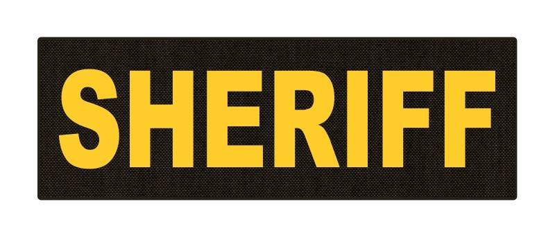 SHERIFF ID Patch - 6x2 - Gold Lettering - Ranger Green Backing - Hook Fabric