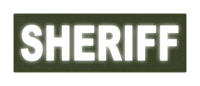 SHERIFF ID Patch - 6x2 - Reflective White Lettering - OD Green Backing - Hook Fabric