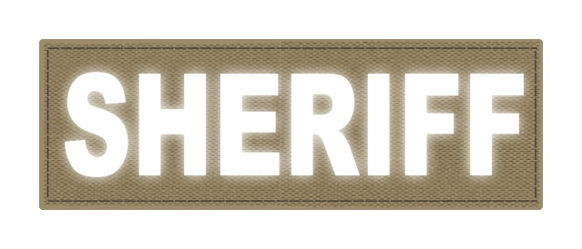 SHERIFF ID Patch - 6x2 - Reflective White Lettering - Tan Backing - Hook Fabric