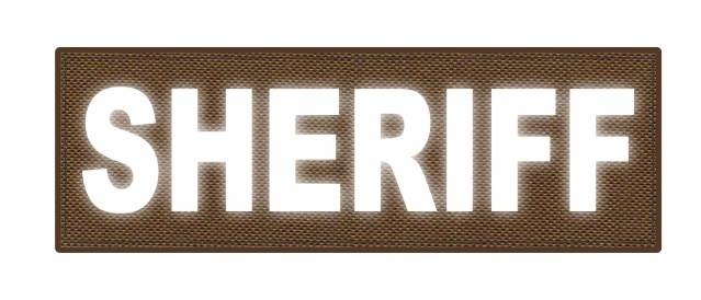 SHERIFF ID Patch - 6x2 - Reflective White Lettering - Coyote Backing - Hook Fabric