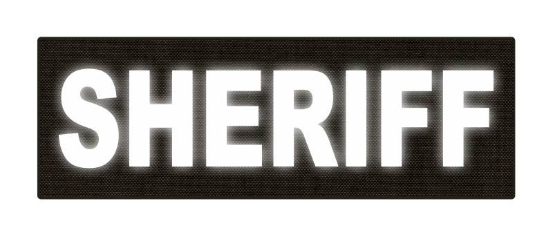 SHERIFF ID Patch - 6x2 - Reflective White Lettering - Ranger Green Backing - Hook Fabric