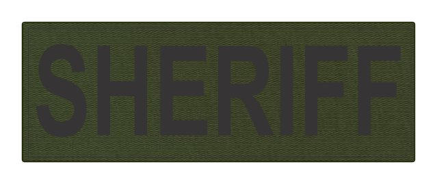 SHERIFF ID Patch - 8.5x3.0 - Black Lettering - OD Green Backing - Hook Fabric