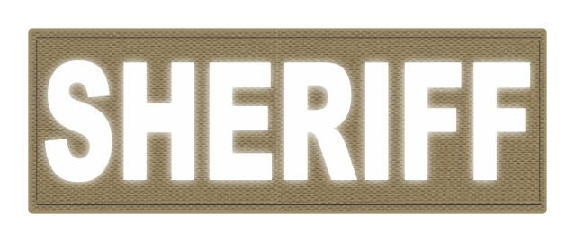 SHERIFF ID Patch - 8.5x3.0 - Reflective Lettering - Tan Backing - Hook Fabric