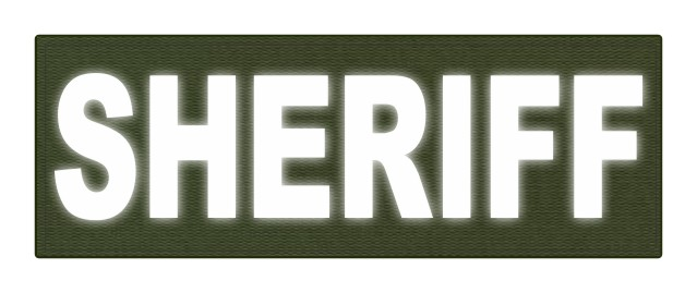 SHERIFF ID Patch - 8.5x3.0 - Reflective Lettering - OD Green Backing - Hook Fabric