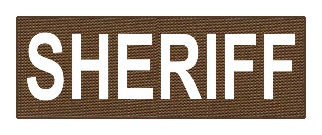 SHERIFF ID Patch - 8.5x3.0 - White Lettering - Coyote Backing - Hook Fabric