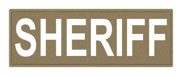 SHERIFF ID Patch - 8.5x3.0 - White Lettering - Tan Backing - Hook Fabric