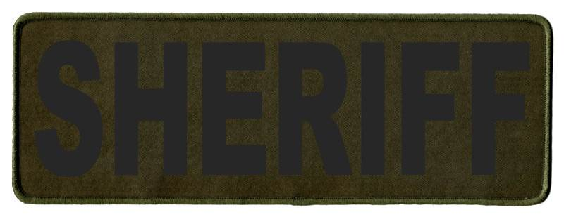 SHERIFF Identification Patch - 11x4 - Black Lettering - OD Green Twill Backing